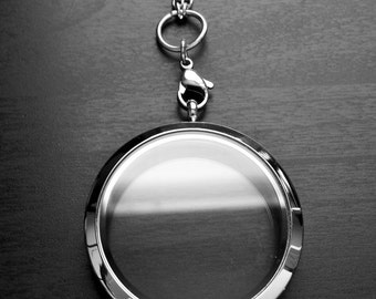 Extra Large Floating Locket-38mm-Silver Stainless Steel-Extra Large  Twist Locket-Gift Idea for Women