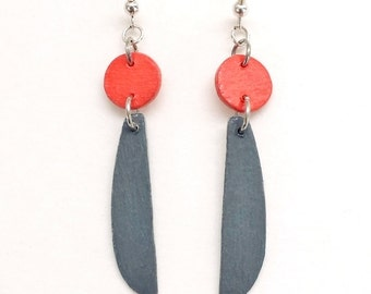 contemporary dangle earrings - geometric wood earrings in orange and gray - modern, minimalist jewelry