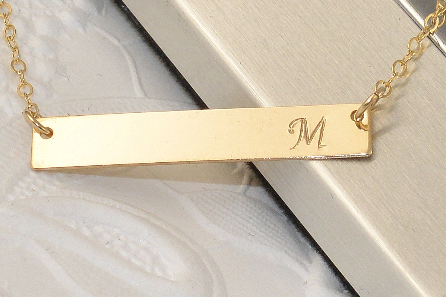 personalized inital bar necklace engraved necklace by