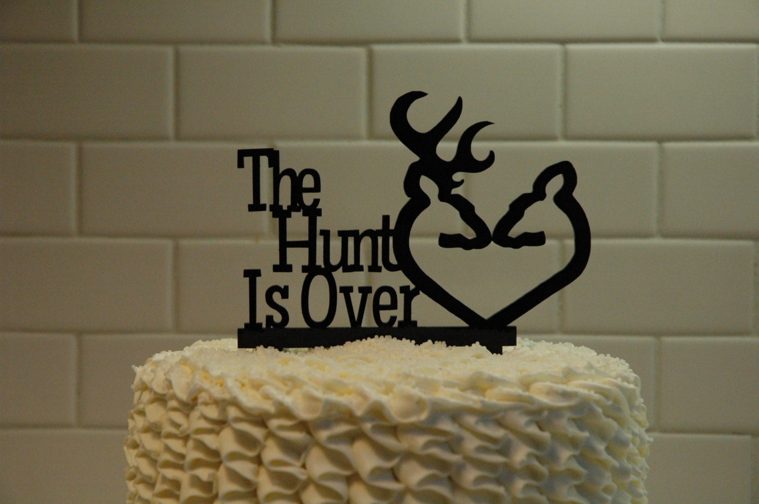 Deer Wedding Cake Topper The Hunt is Over by SugarBeeEtching