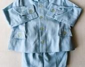 Ensemble bleu chemise et bloomer enfant 1950/60