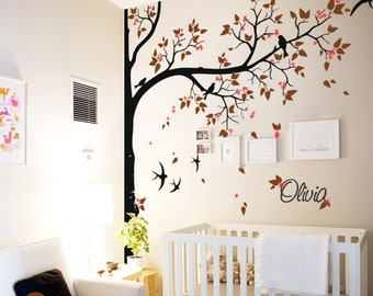 Tree wall decal with personalized name or quote Corner Decal with flying birds and leaves Nursery Wall Mural Sticker Tree Wall Decals - 065
