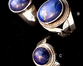 Size 8.5 or 8.75 Sterling Silver Ring.  Blue Lapis, Filigree or Simple . free US ship