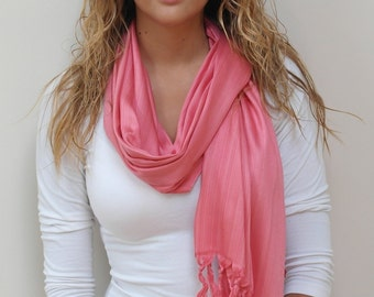 FREE SHIPPING in USA- Women's Cotton Silky Coral  Scarf & Shawl/ Silky winter-fall scarf/ cotton scarf/ gift for her