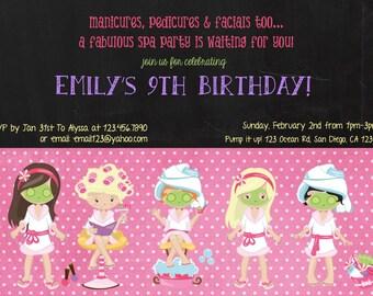 Spa Party invitation card /4x6/ 5x7/digital file/printable