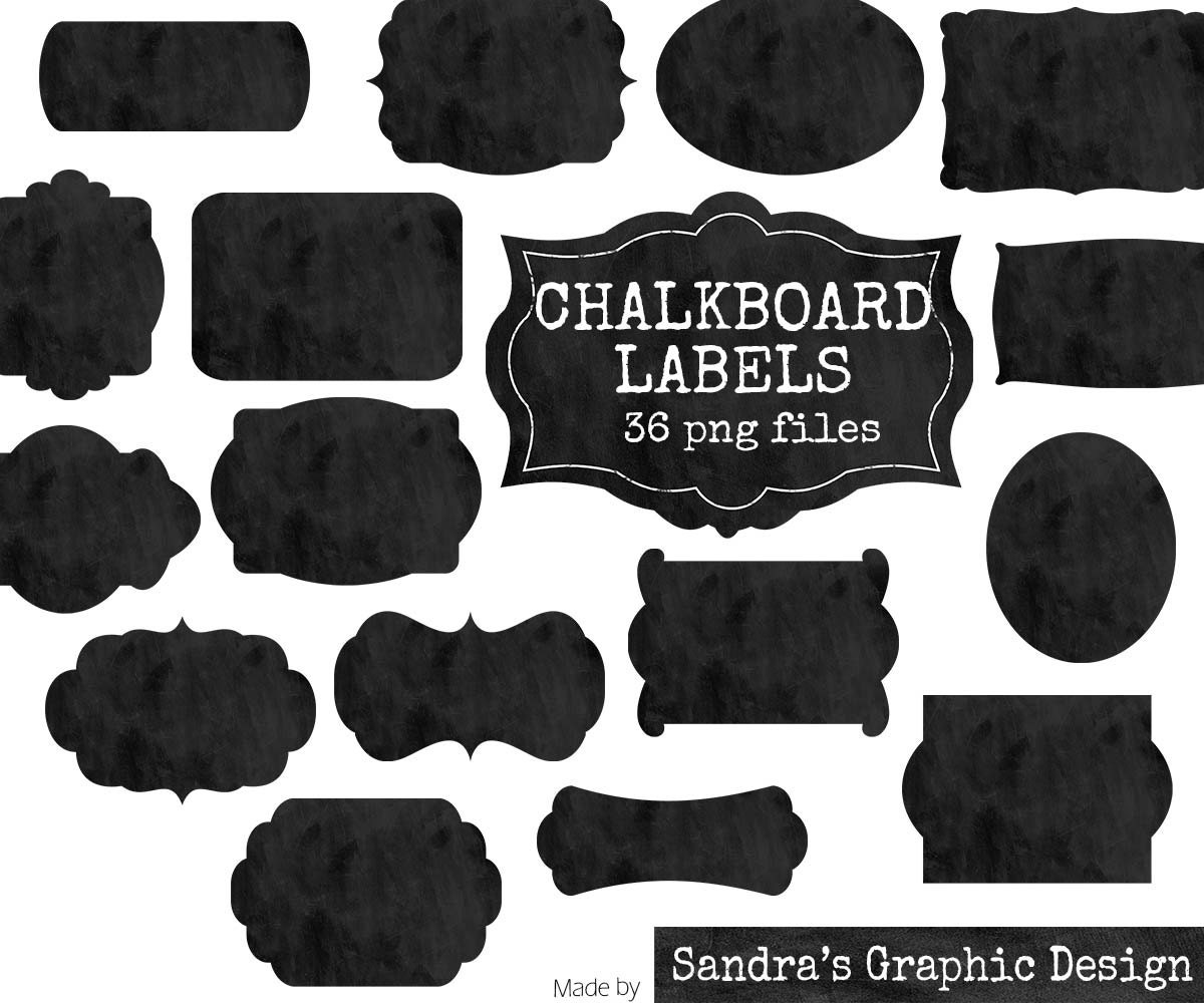 "clip art: ""chalkboard tags"" with 18 black chalkboard labels clipart"