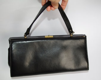 Small black frame charming elegant ladies bag Vintage 60's Black Handbag Women's purse Retro black bag/ Top handle bag refined handbag
