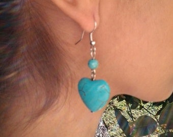 Turquoise Heart Drop Silver Earrings / Turquoise Howlite Earrings