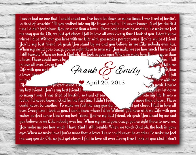 Valentines Day Gift For Him Her, State Map Song, Paper Gift 1st year 5 year 10 year 15 year Personalized Gift Couple, North Carolina Wedding