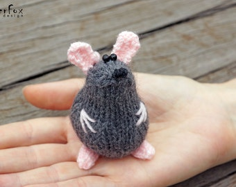 Miniature mouse, woodland plush, knitted mouse, hand knit toy, stuffed animal, softie mouse, amigurumi - Mimi the Mouse
