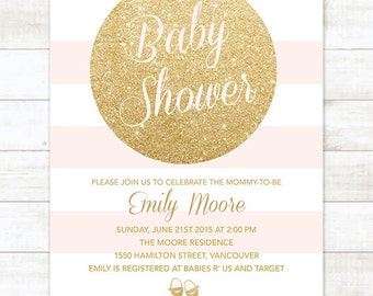 gold pink baby shower invitation, pink stripes gold glitter circle printable baby shower invite, baby shower digital invite customizable