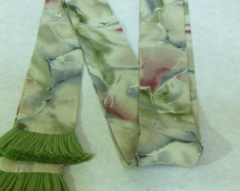 Grey, Sage, Mauve Tie-Dye Cotton Sash w/Sage Fringe for Pirate, Ren Faire and Cosplay
