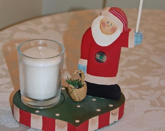 Santa Candle and Match Holder on Wooden Base