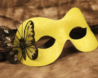 Yellow Masquerade Mask Halloween Masked Ball Black Glitter Butterfly