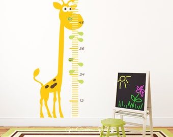 Giraffe Growth Chart Decal Jungle Decal Giraffe Decal Safari Wall Decal Height Chart Decal Animal Ruler Wall Decal
