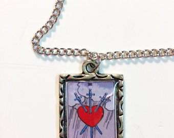 Three Of Swords Tarot Card Charm Necklace