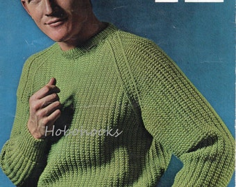 mens ribbed sweater knitting pattern fishermans rib sweater ribbed jumper crew neck 37-41inch DK mens knitting patterns pdf instant download