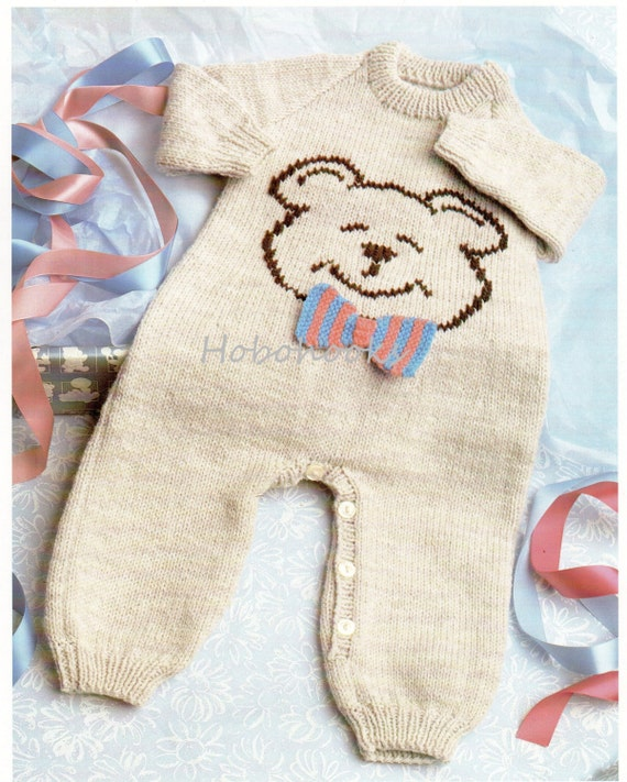 Knitting Pattern For Baby Teddy : baby teddy bear all in one knitting pattern pdf Button Legs