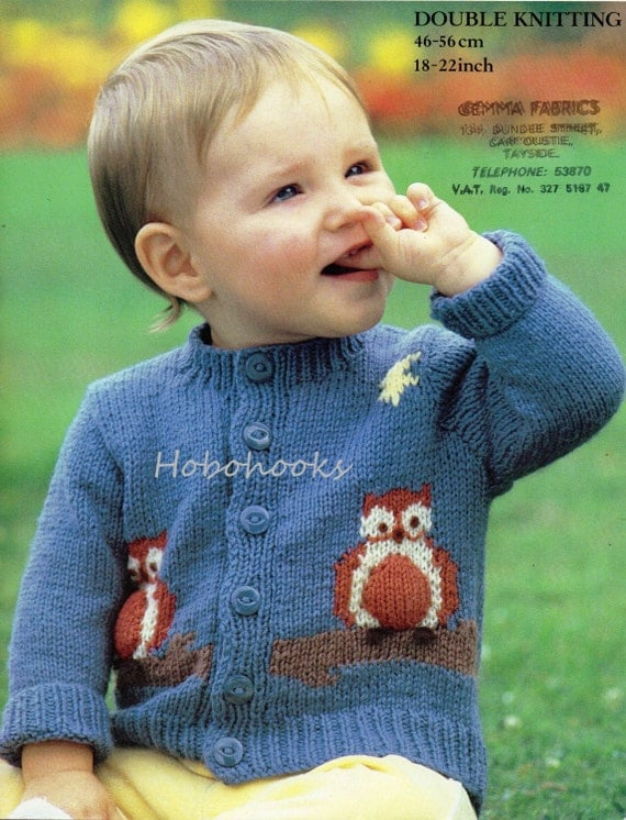 Knitting Patterns Baby Motifs : Baby Knitting Pattern baby owl motif cardigan baby cardigan