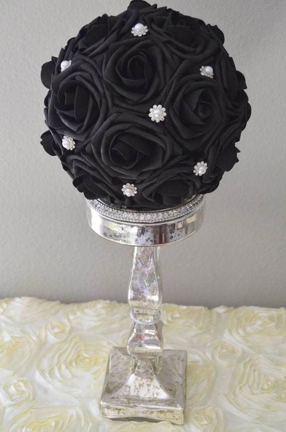 Premium real touch foam rose black flower ball with brooch