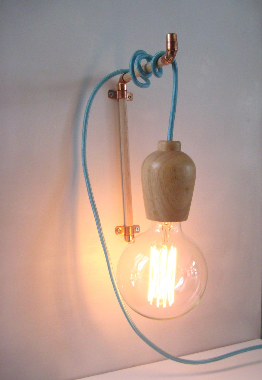 Wall Hooks For Hanging Lights : Copper Wooden Wall Hook Hanger for Pendant Light by warnaacorner