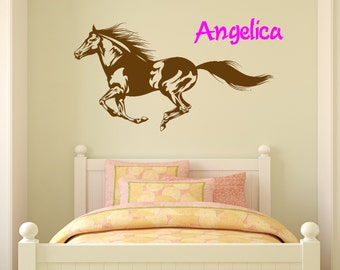 Horse Wall Decal Girls Name Decal Personalized Wall Decal Name Decal Pony