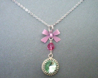 Green rhinestone pendant necklace, pink bow and crystal, delicate chain, bright silver, crystal necklace, mint pink jewelry Spring jewelry