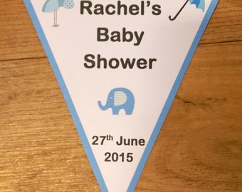Personalised Baby Shower Flag Bunting Triangle Banner Accessories Boy Girl Baby Pink Blue - PB106