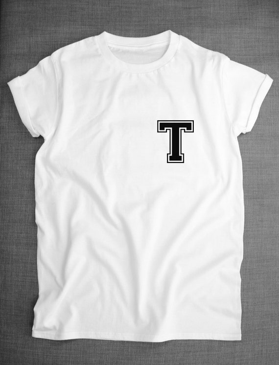 custom printed initial name letter t shirt by