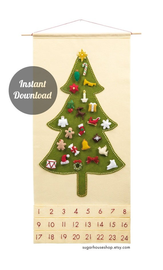 Christmas Tree Advent Calendar Pattern Felt by SugarHouseShop
