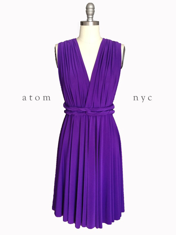 Royal Purple SHORT Infinity Dress Convertible Formal Multiway Wrap Dress  Bridesmaid Dress Toga Cocktail Evening Dress Wedding Knee Length
