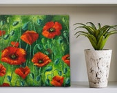 "Red poppy flowers 11х11"" Wall art Gift Housewarming gift Personalized grandma gifts"