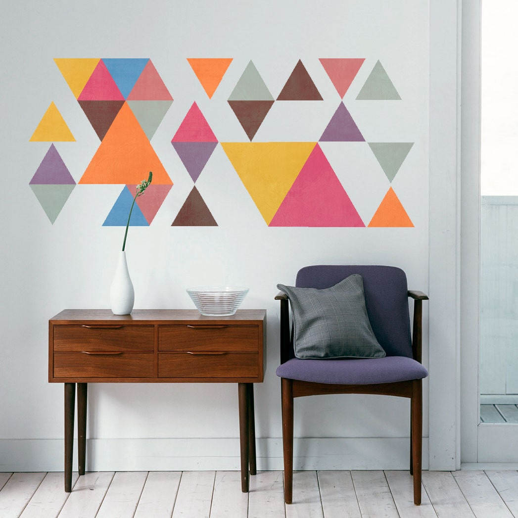 Geometric Wall Decor Mid Century Modern Triangles Sticker