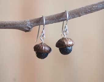Acorn Earrings with Lava + Sterling Silver handmade by Nuttier Than A Squirrel – lava, pumice, black, volcano, fairy, Hawaii, Pompei, kawaii
