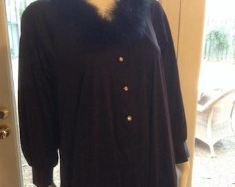 Glam 80s Vintage Dressing Gown  /  Bridal Dressing Gown Size Large  /  Long Black Ankle Length Vintage Robe  /  Traciesplace