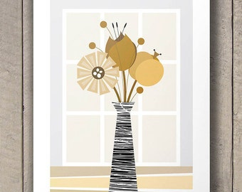 Mid Century Modern Decor, Large Size Wall Decor, Brown Retro Flowers Poster, Kitchen Decor, Size A2 or 16x20