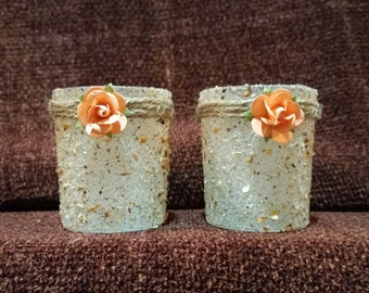 Handcrafted Votive Candleholders Featuring Sand, Embellished With Peach-Colored Roses