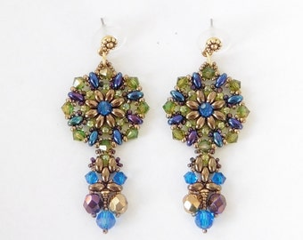 PDF Beading Tutorial. Vitrage Earrings Instruction with patterns and photos