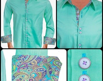 Light Green with Metallic Paisley Men's Designer Dress Shirt - Made To Order in USA