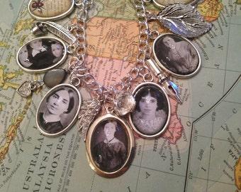 Emily Dickinson Charm Bracelet, Emily Dickinson Bracelet, Emily Dickinson, Charm Bracelet, Silver Charm Bracelet, Emily Dickinson Charms