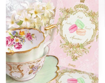 French macaron invitations, vintage style for shower tea, high tea and bridal shower, a set of 6