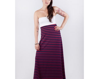 Fourth of July Strapless Organic Cotton Red and Blue Stripe Maxi Dress // Made in USA