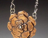 Large Copper Flower Necklace, handmade chain, sterling and copper, mixed metal flower necklace