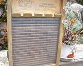 """WASHBOARD CABINET-GLASS-REcycled from """"Natl. Washboard Co. #862 Washboard-inTo WaLL Cabinet-MeDicine CaBiNeT/Spice Cupboard-oLD glass HanDLe"""