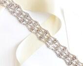 Fabulous Silver Rhinestone Wedding Dress Sash - Silver Rhinestone Encrusted Bridal Belt Sash - Crystal Extra Wide Wedding Belt - Extra Long