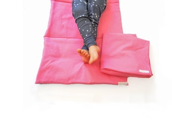 Organic Nap Mat with Matching Washable Cover- Toddler, Preschool Napmat- Non Toxic Childrens Bedding (Pink, Blue, Red, Orange or Green)