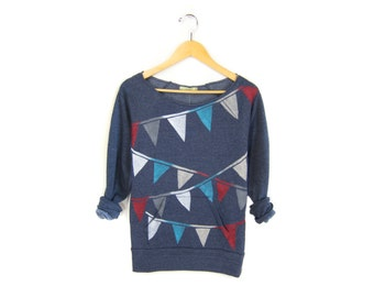 Triangle Bunting Sweatshirt - Scoop Neck Raw Edge Long Sleeve Fleece Pocket Sweater in Navy Red White and Blue - Women's Size S-3XL