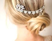 Bridal Hair Chain, Wedding hair Wrap, Grecian Headpiece, Wedding Halo, Draped Hair Comb, Floral Wedding Hair Comb, Hair Wreath - 'SUMMER'