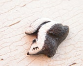 Little Striped Skunk bead - Sleepy Woodland Critters hand painted forest animal bead (ready to ship)