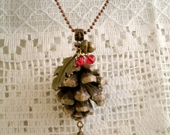Resin Pinecone Nature Necklace with  brass Acorn and Leaf Necklace beautiful Wire wrapped red glass beads on Antique Copper Link Chain